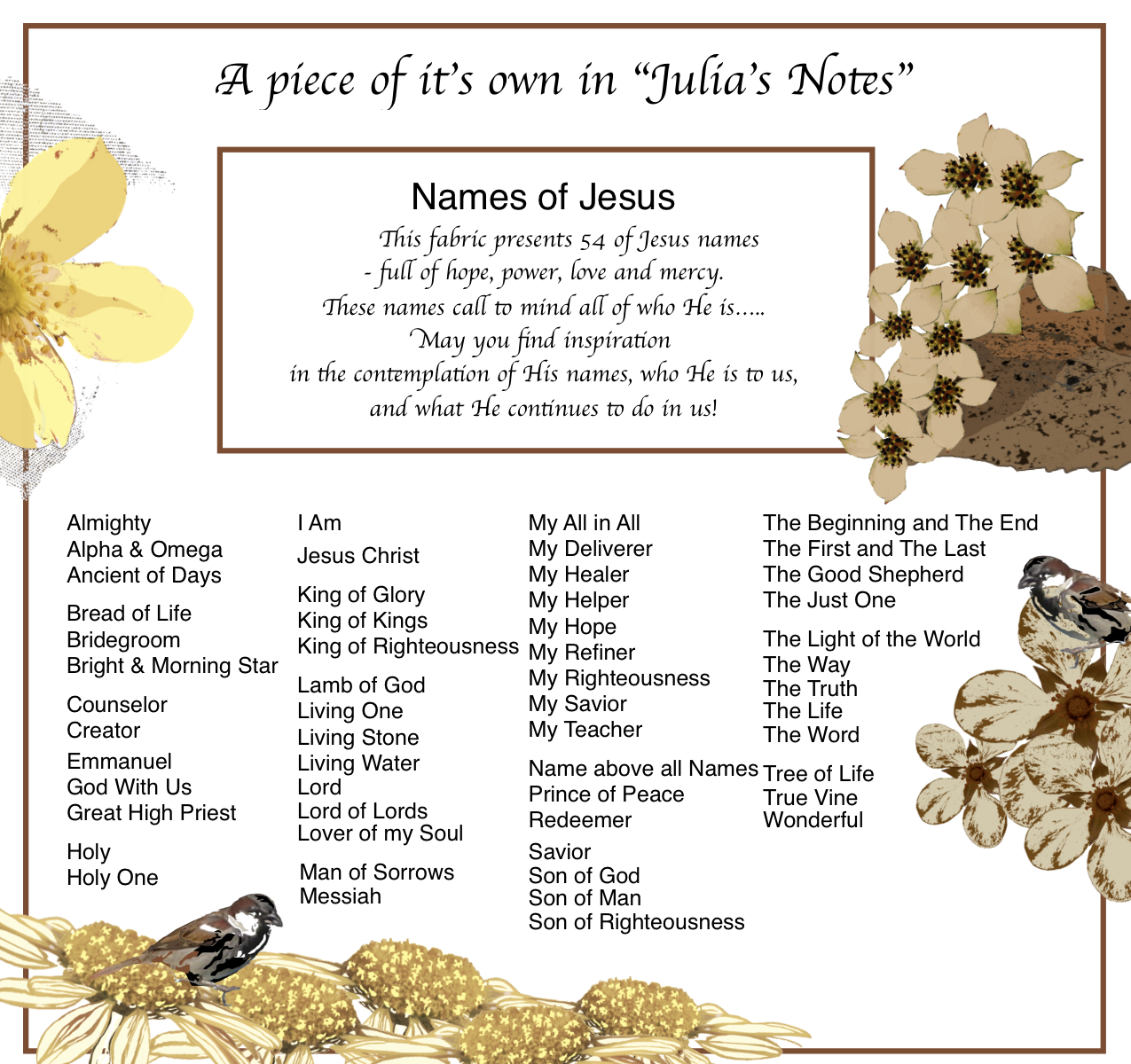 Amazing descriptive titles for Jesus which says who !He is to us