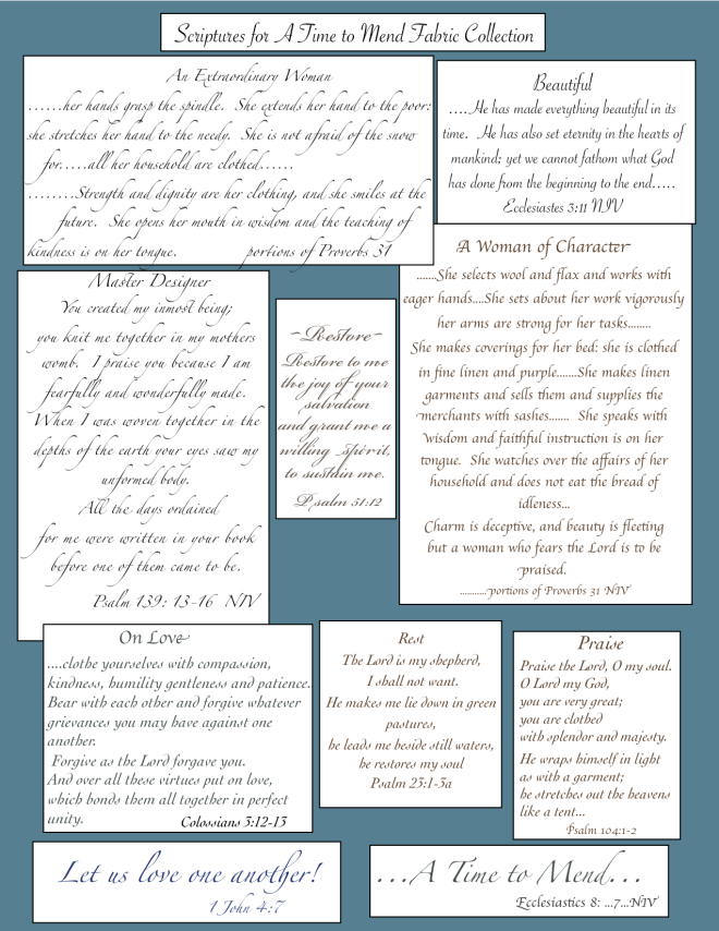 A Time to Mend Scripture sheet
