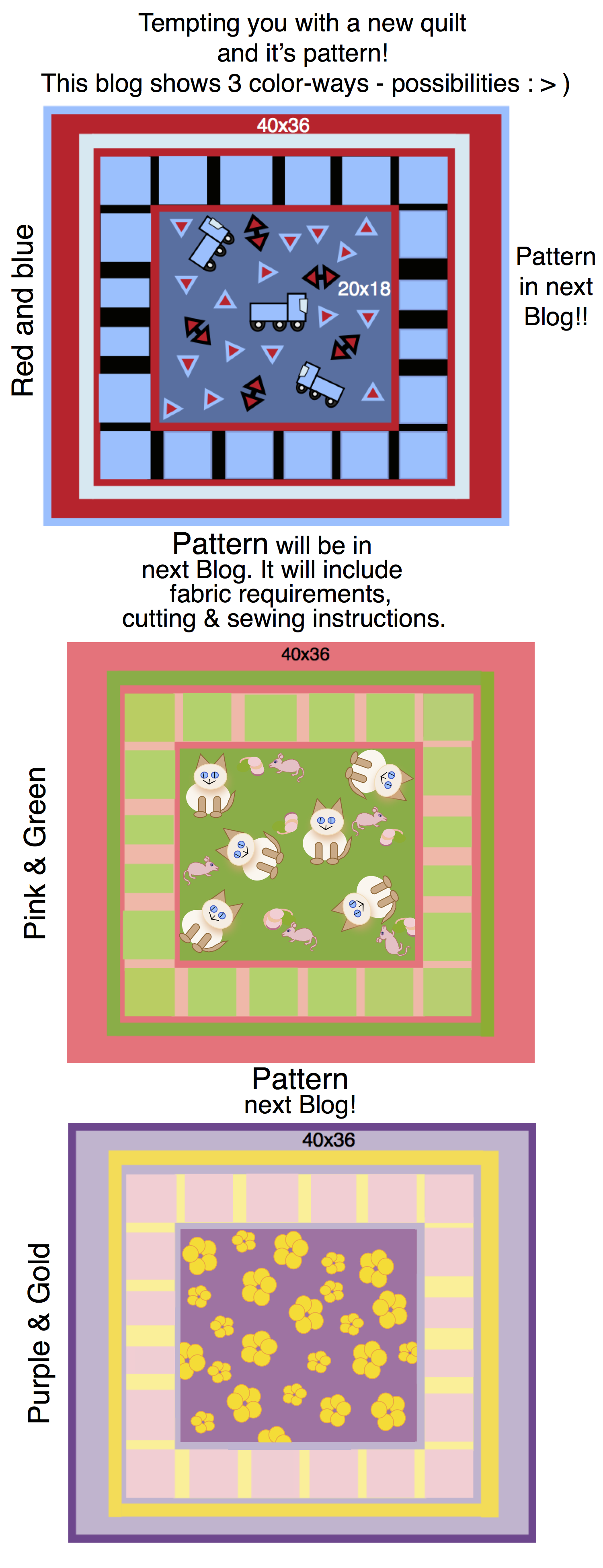Three color ways for 'Little Quilt'  Pattern (to come in next blog)